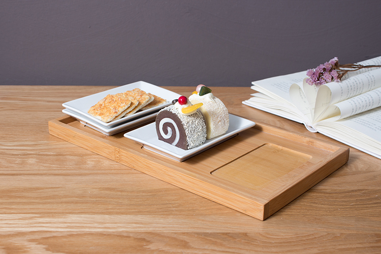 Kitchen ware custom dessert Snack plate with bamboo wood tray graceful dish ceramic plate