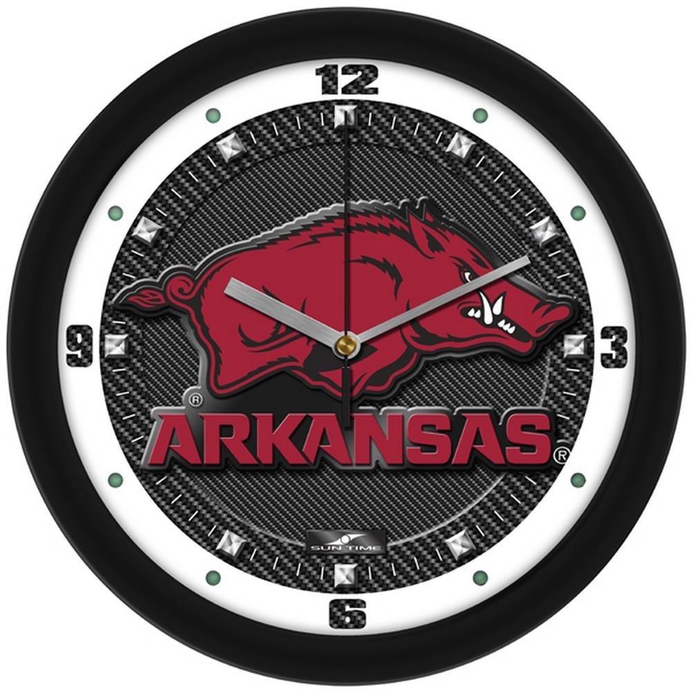"Arkansas Razorbacks 12"" Carbon Fiber Textured Wall Clock"
