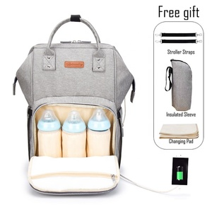 Baby Diaper Tote Bag Backpack Large Size Water-resistant Travel Mummy Diaper Bag With USB Charging Port