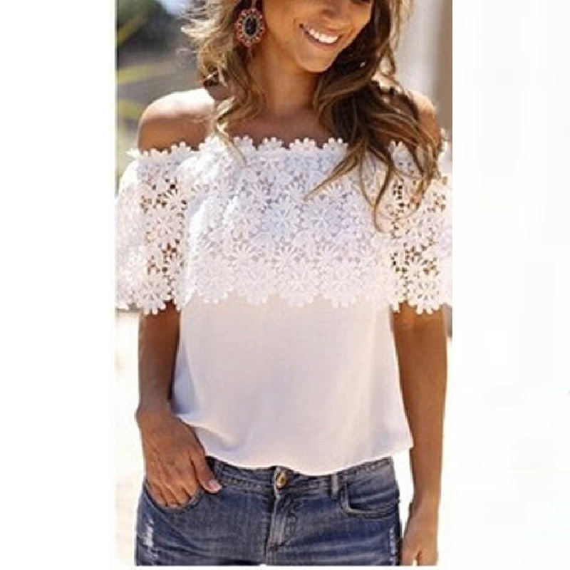 68463aa9ea6f7 Get Quotations · Feitong New women White top Sexy Lace Blouse Mesh Shoulder  Short Sleeve Floral Lace Basic Shirt