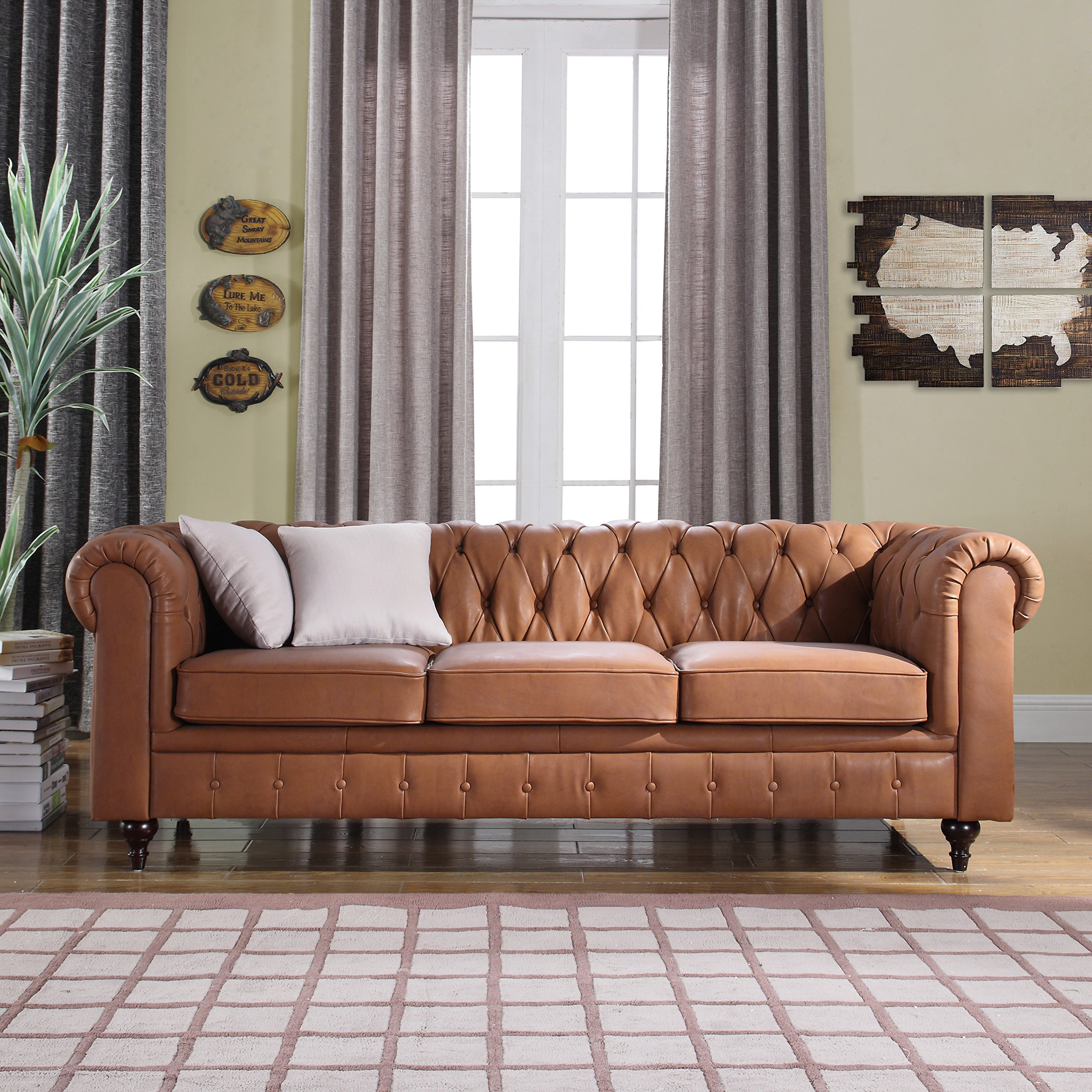 Bon Get Quotations · Classic Scroll Arm Real Leather Chesterfield Sofa (Light  Brown)
