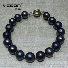 Wholesale gold hand custom chain jewelry bracelet with seawater pearl
