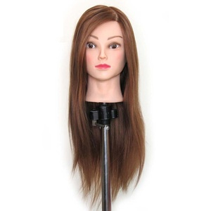 Cosmetology 100% real human hair african american salon practice hairdresser training mannequin dummy doll head with shoulders