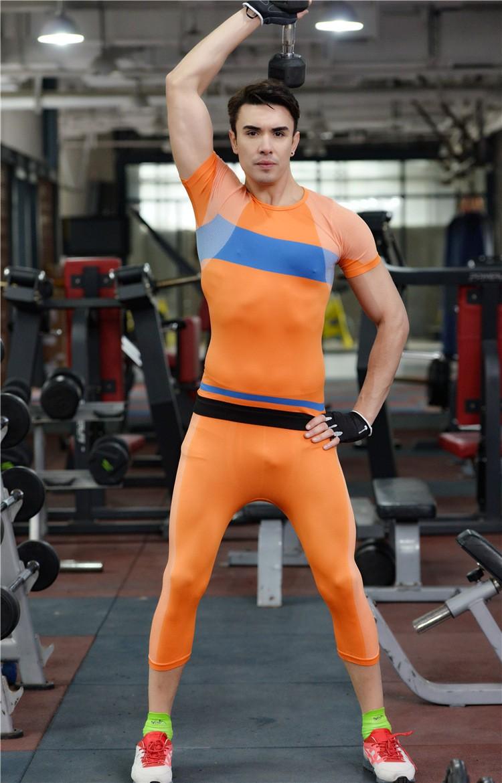 Men tight Pants Slim Compression Elastic Gymnastic Bicycling Swimming Pants 3