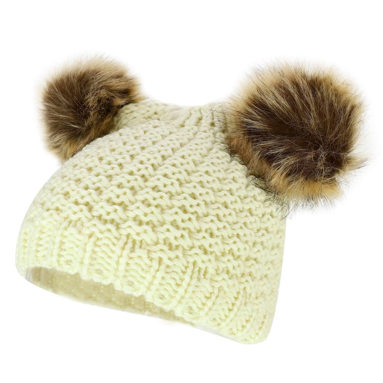 ffb78312fe8c06 Get Quotations · Trendy Apparel Shop Kid's Youth Size Girls Fur pom Ears  Crochet Knit Beanie Hat