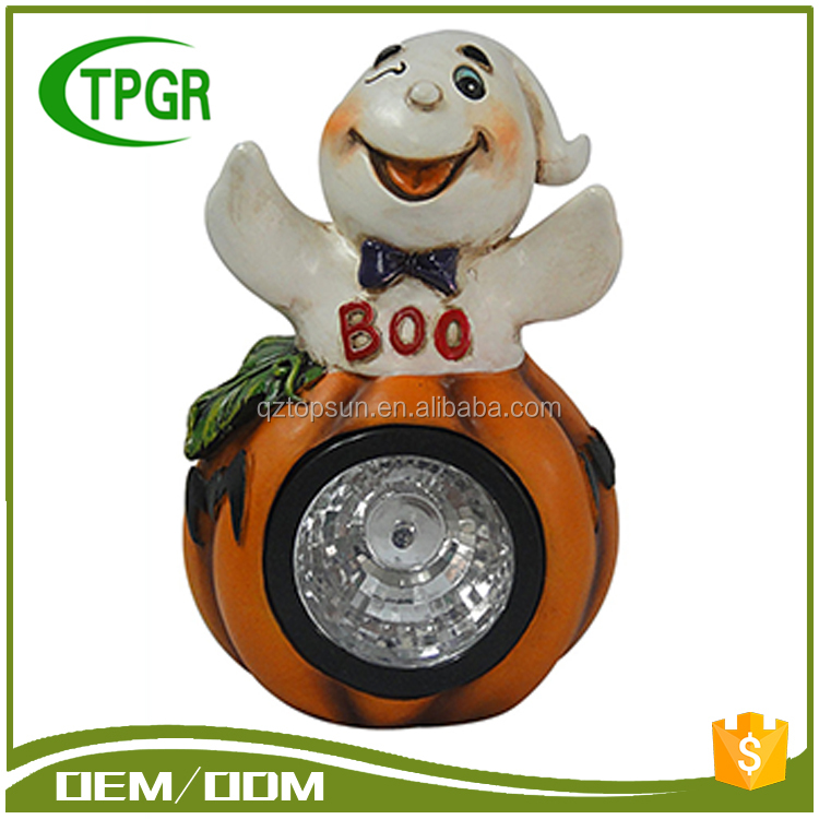 Wholesale Outdoor Polyresin Artificial Craft White Ghost Pumpkins Solar Light Halloween Decoration