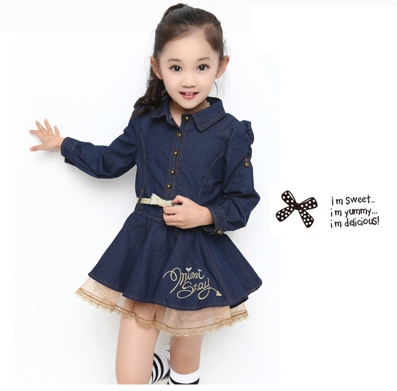 8f7467521cf Get Quotations · 2014 girl dress!spring autumn girls denim dresses  wholesale new coming full sleeve Korean style ...