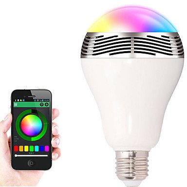 Hot sell E26/E27 7W RGBW Color Changing Smart <strong>Bulb</strong> with Bluetooth Speaker