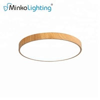 modern surface mounted living room round wood color led ceiling light