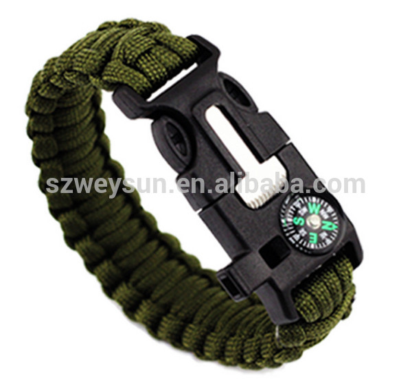Men's Survival Bracelets Rescue Paracord Parachute Cord Wristbands Emergency Rope Flint Fire Starter Buckle Whistle Compass Kits