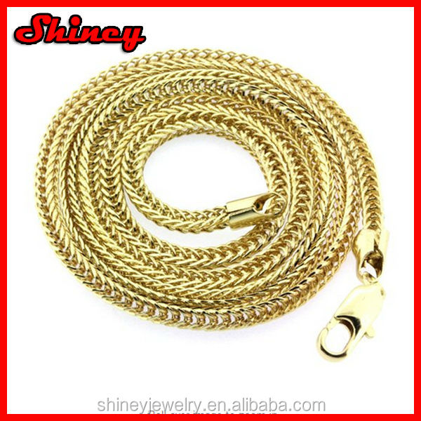 Mens 24 Inch Gold Plated 14k Finished 3mm Franco Chain Necklace Hip-hop Chain