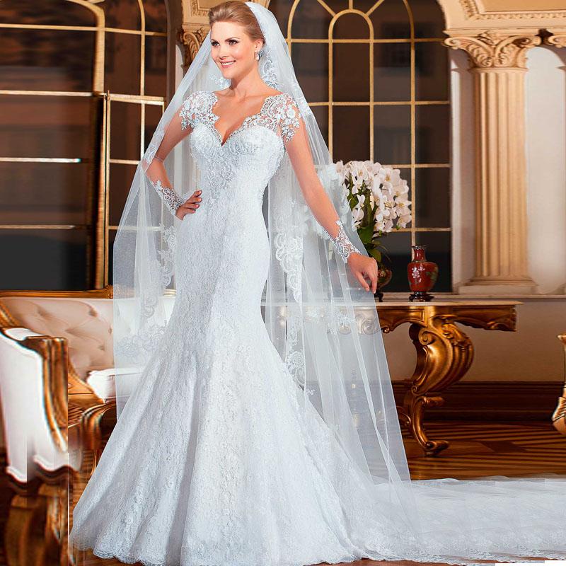Latest Designs V Neck Lace Long Sleeves Vintage Wedding