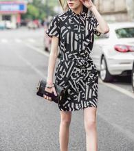 New European Style Stylish Dresses Summer Short Sleeve Lapel Dress Office Career OL Dress Casual Slim Evening Party Dress ED59