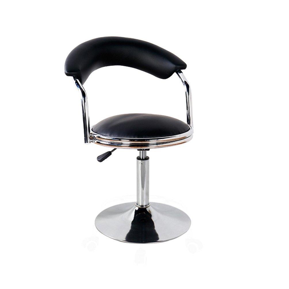 Bar Chair, Club Rotatable Round Stool Household Beauty Salon Stool Backrest High Chair Reception Desk Chair Liftable Chair Lift Height 42-55cm (Color : Black)