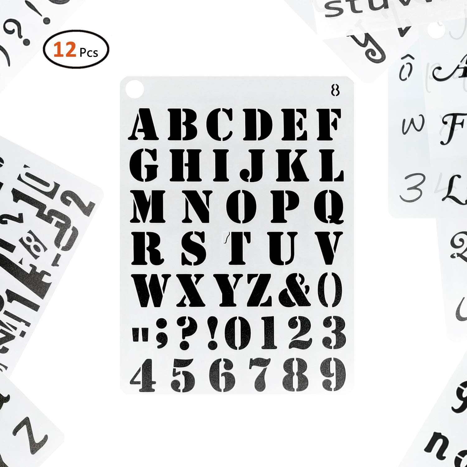 AKOAK 2 Piece Set Brass English alphabets Stencils and Arabic Numerals Stencils with Symbols,Letter Stencils Number Stencils for Drawing,Bookmarks,Templates