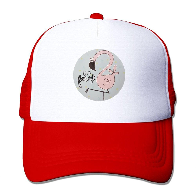 5f56c087d300c Get Quotations · Crazy Popo Outdoor Sports Hat - Pink Flamingo Trucker  Adjustable Trucker Hat Cap Adult Unisex Golf