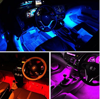 Multicolor Music Car Interior Light LED Under Dash Lighting Kit with Sound Active Function and Wireless Remote Control