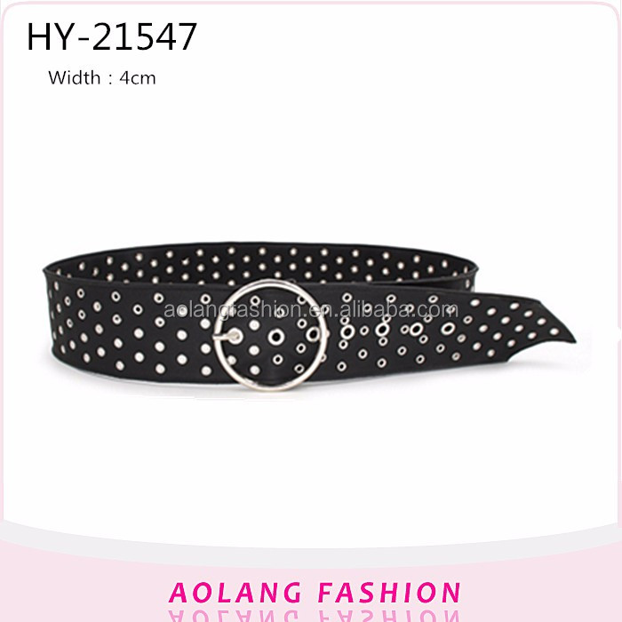 New design Eyelet pu belt fashion black studs pu womenor men jeans belts