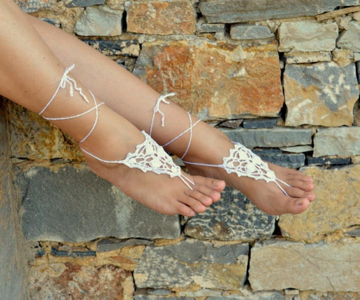 White Crochet Barefoot Sandals,Grecian, Sexy Foot Anklet, Yoga, Foot Thongs, Nude Shoes, Lace Sandals