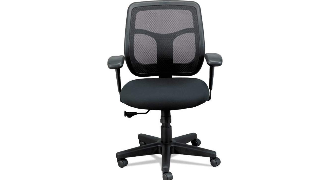 Apollo Mid-Back Mesh Chair Height Adjustable Width Adjustable Black Seat/Black Back K&A Company
