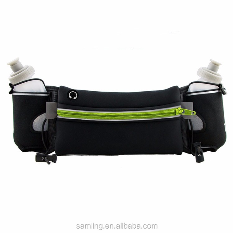 New Design Customized Universal Large Capacity Reflective Neoprene Sport Waist Bag Running Belt with Two Water Bottle Holder