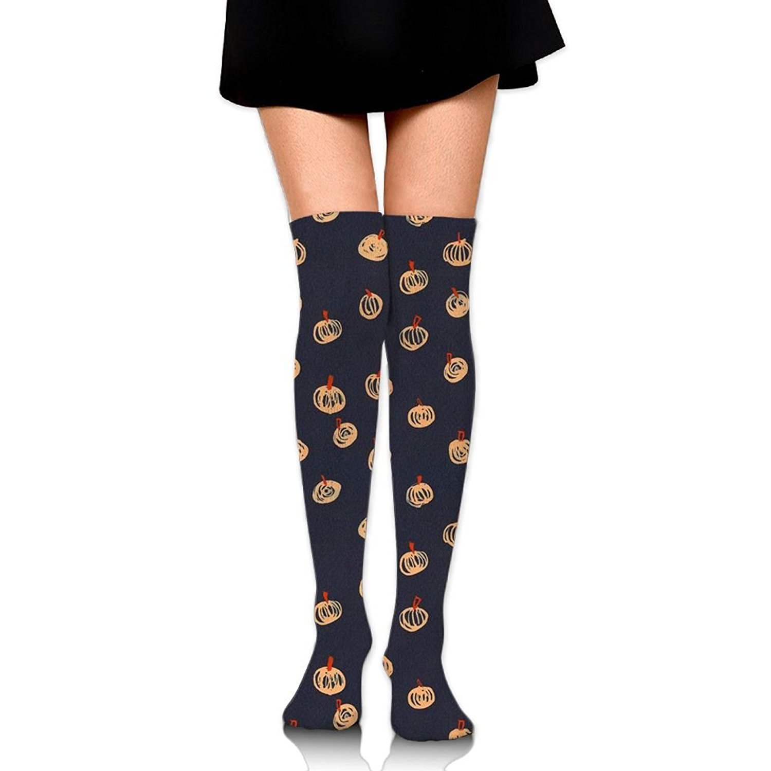 Zaqxsw Painting Pumpkin Women Fashion Thigh High Socks Long Socks For Girls