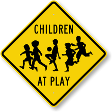 OEM service reflective children at play warning sign