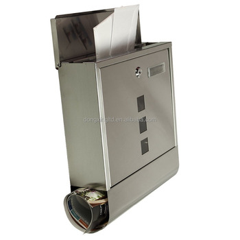 Wall Mounted Mailbox Lockable Stainless Steel Post Letter Box Newspaper Holder