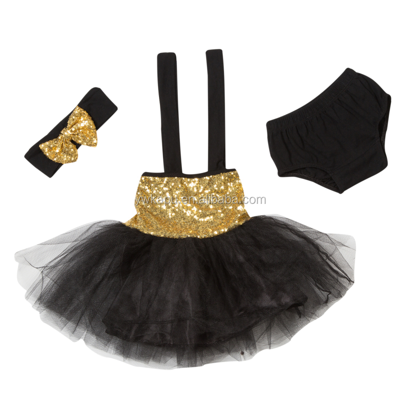 Lovely baby sequins tutu skirt three pieces outfit for little baby of 0-5 years old From Chinese zhejiang