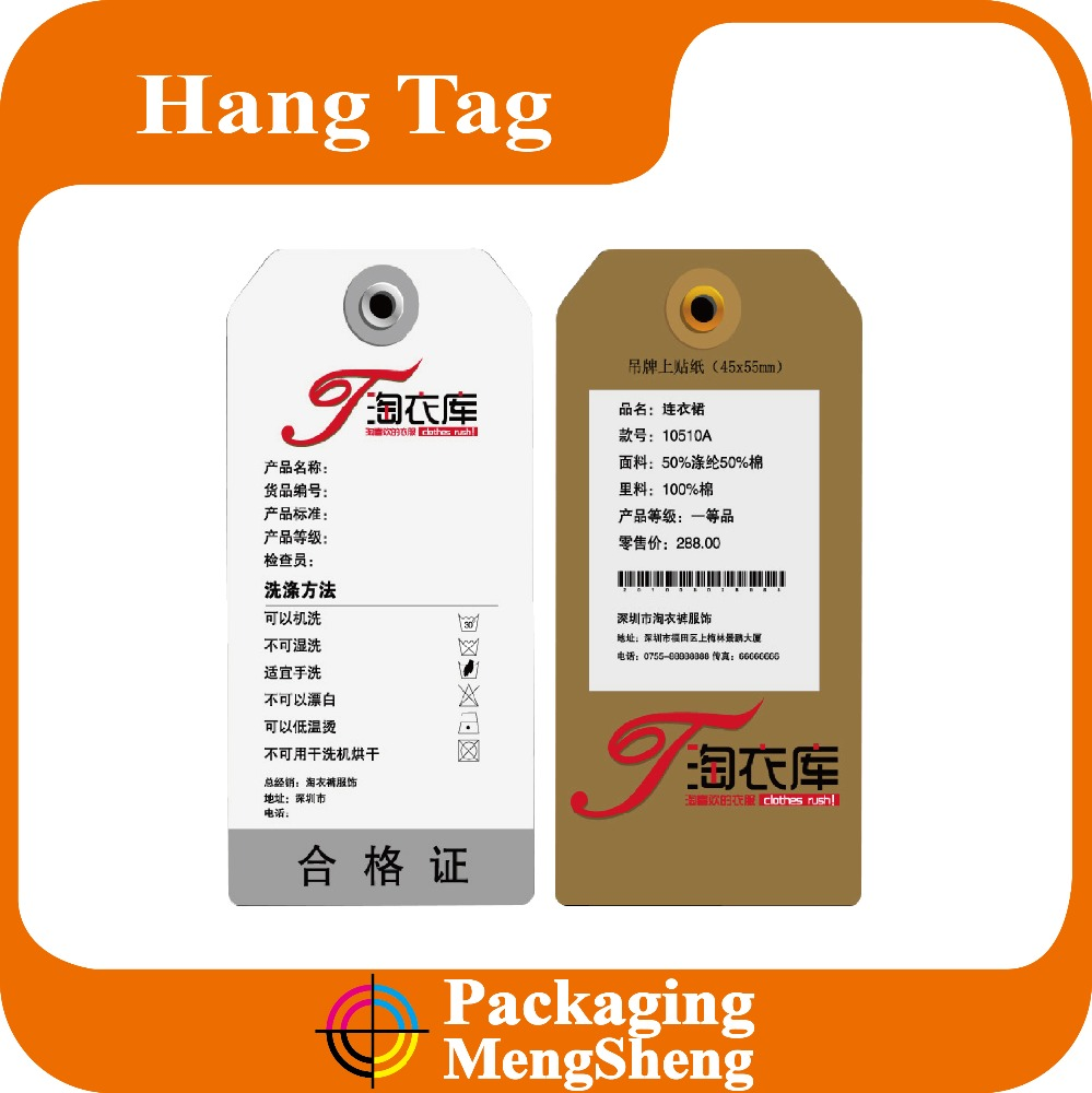 Custom Paper Hang Tag for Socks with Logo Image Design