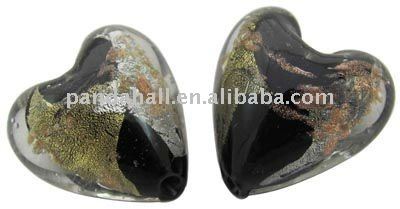 Handmade Gold and Silver Foil Glass Beads, Gold Sand, Heart, Black, 15x15mm, hole: 2mm(FOIL-X070-4)