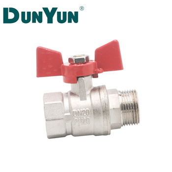 "Hot Sale Chrome Plated M*F Brass Ball Valve1/2 "" Butterfly Handle"