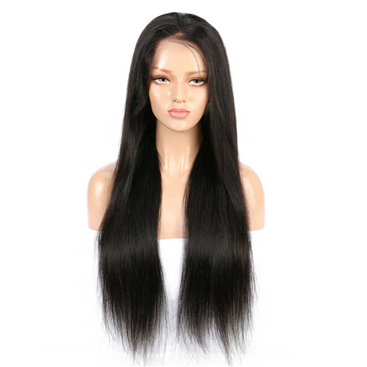 Long Silky Straight Human Hair Glueless Full Lace Wig in Stock фото
