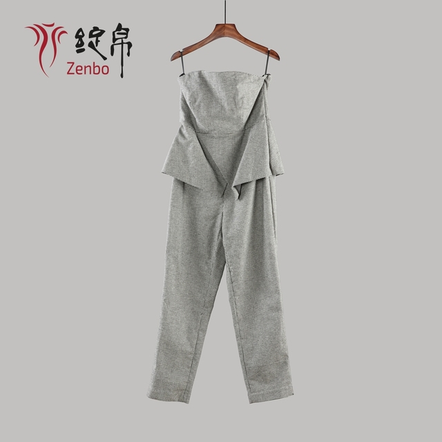 OEM Pied De Poule Fabric Elegant Ladies Jumpsuit
