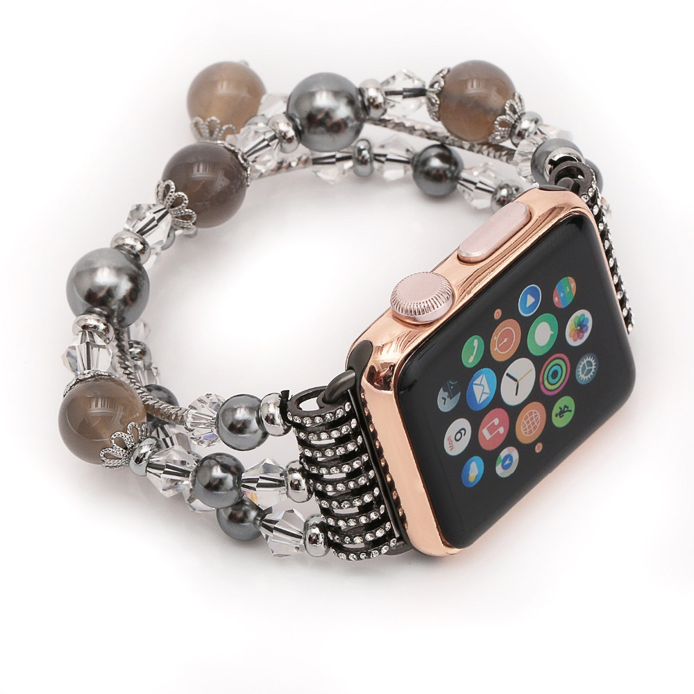 Handmade Watch Band with Beaded Pearl Natural Stone Bracelet Replacement Wrist Band for Apple iWatch Series1 2 Edition 38mm 42mm