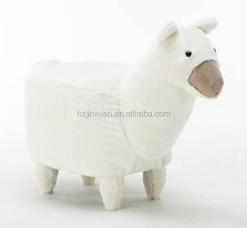 Jx1421 Weiße Farbe Alpaka Form Hocker Oem Produzieren Pelz Abdeckung