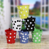 Indoor decor candy color small metal bucket for planting