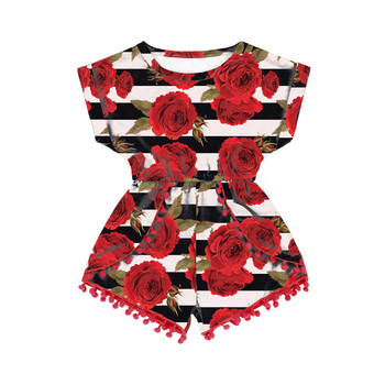Red rose striped print children summer pom pom jumpsuit little girl baby clothes with snaps on the back kids clothing wholesale