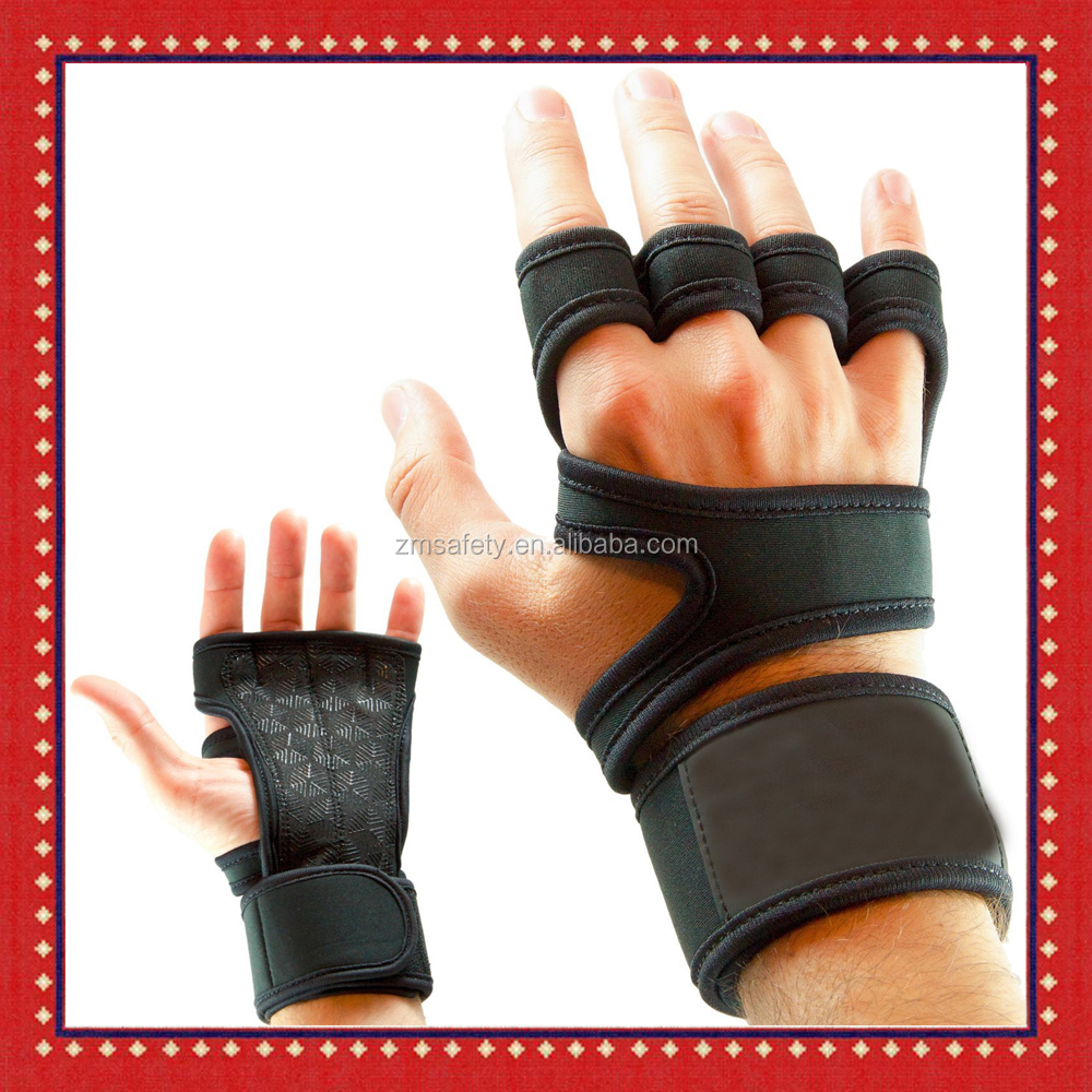 Leather Padding Cross Training Gloves With Wrist Support For WODs & Gym Workout Gloves