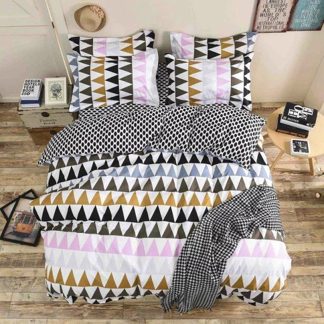 twin voll 50 baumwolle 50 polyester mikrofaser bettlaken schwarz wei braun rosa grau dreieck. Black Bedroom Furniture Sets. Home Design Ideas