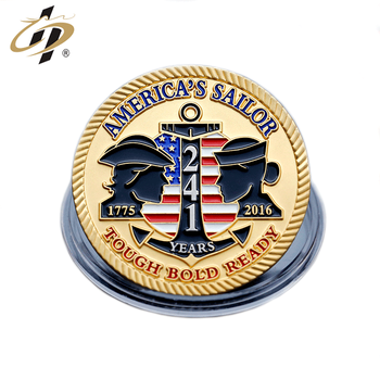 Exclusive customization zinc alloy USA army metal gold challenge medallion coin for great lakes navy ball