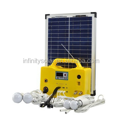 factory sell 20W portable solar home lighting system with USB charging and led bulb