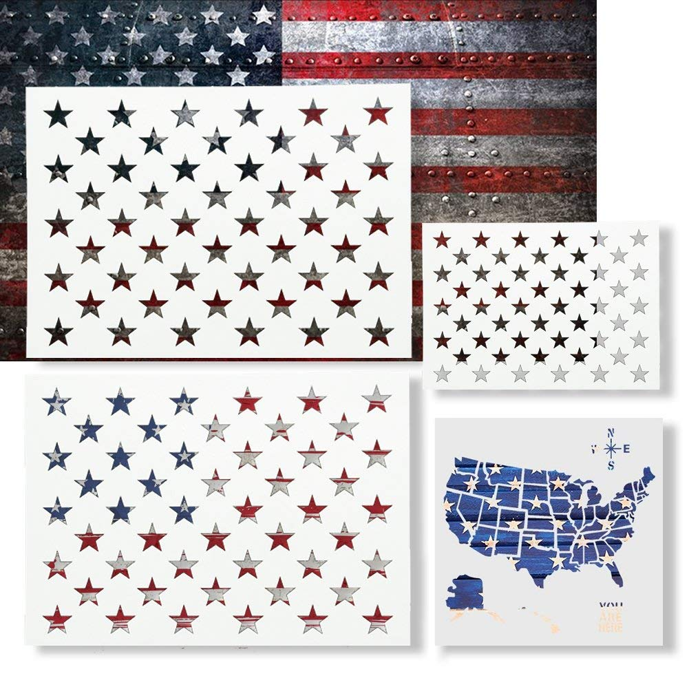4 Pack 10.5 x14.82 inch American Flag 50 Star Stencil & 6 x 6 inch United States Map Template for Painting on Wood,Fabric, Airbrush,Reusable Mylar Template with Multiple Sizes Available by ZJKOO