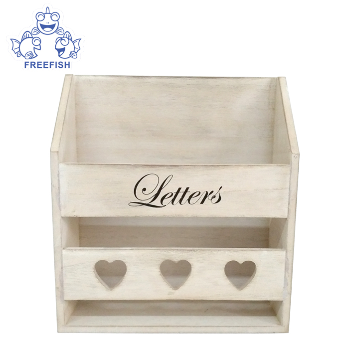 Wood Wall-Mounted Mail Sorter, wooden letter rack, Rustic Wood Wall-Mounted Entryway Organizer