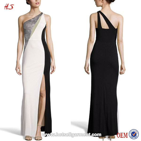 2016 Alibaba New Fashion Woman Dress Black and White Stretch Jersey Color Blocked Asymmetrical Gown