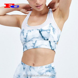 Moisture wicking Custom Sublimation Printed Mesh Sports Bra Women Active Wear