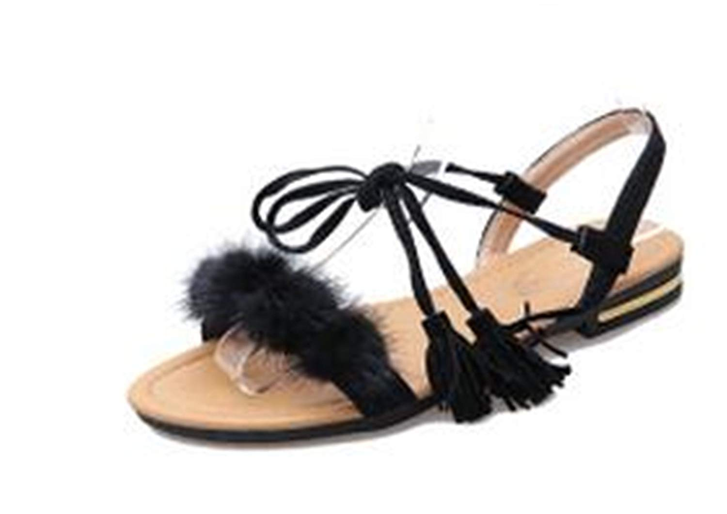 Beancan Real Fur Ankle Strap Gladiator Sandals Women Flats Tassel Shoes Ladies Wedding Beach Sandals