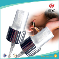 Commercial china good quality shiny silver mist sprayer 20mm ribbed perfume spray pump plastic trigger 28/410