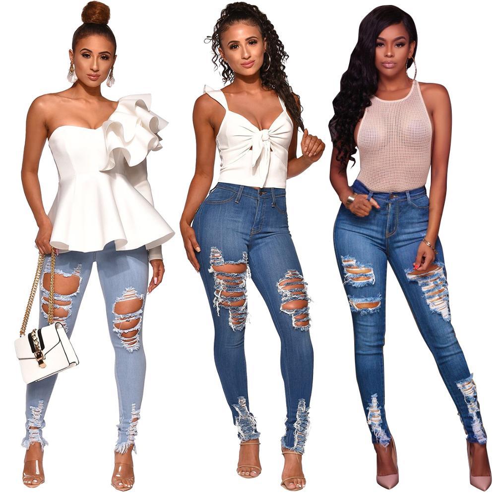 dce8024a Venta al por mayor pantalon jeans femme-Compre online los mejores ...