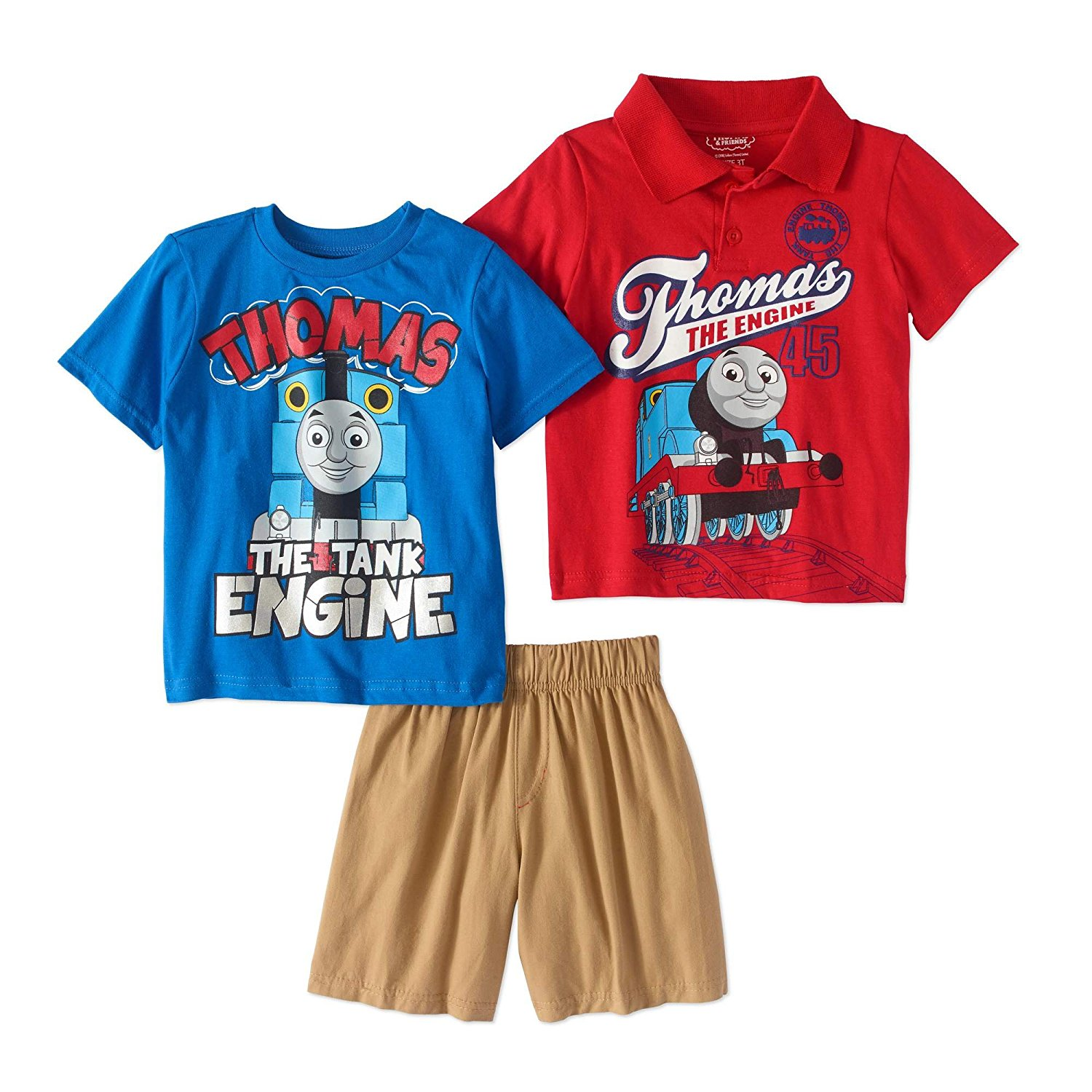6560f0af Get Quotations · Thomas The Train Toddler Boys Polo Shirt, T-Shirt & Shorts,  3PC Outfit